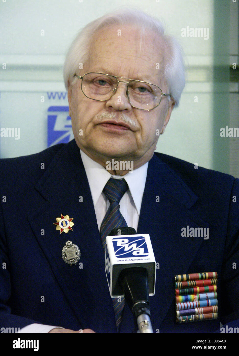 Gleb Plaksin French Resistance veteran during a RIA Novosti news conference dedicated to the 60th anniversary of Stock Photo