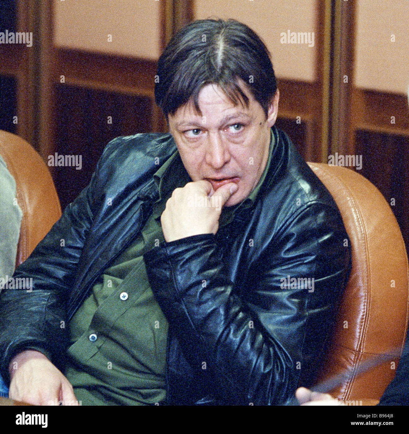 Actor Mikhail Yefremov one of the members of the shooting team for the film Leningrad attending a meeting at the - Stock Image