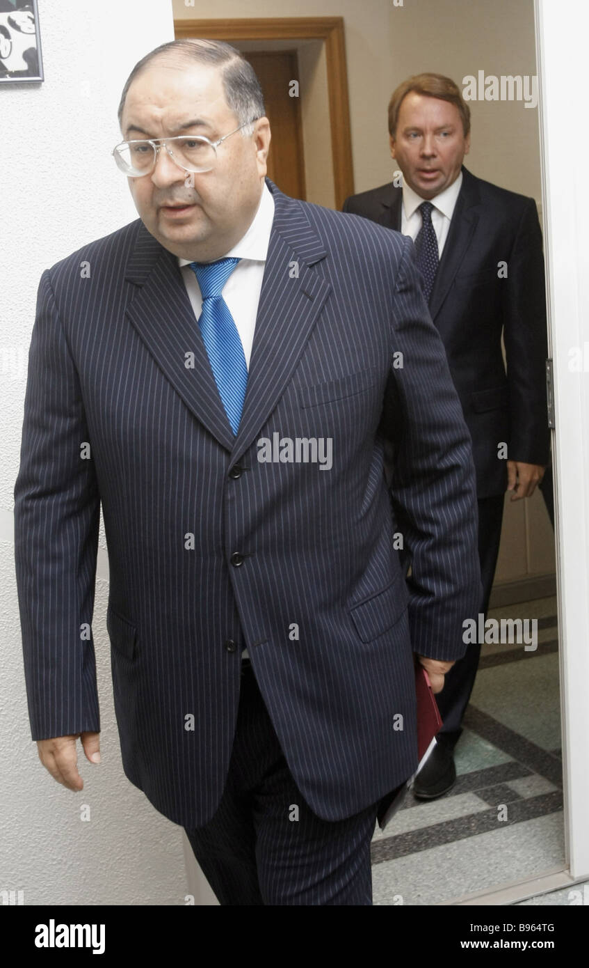 Russian tycoon Alisher Usmanov at a news conference dedicated to the future of Msitslav Rostropovich and Galina - Stock Image