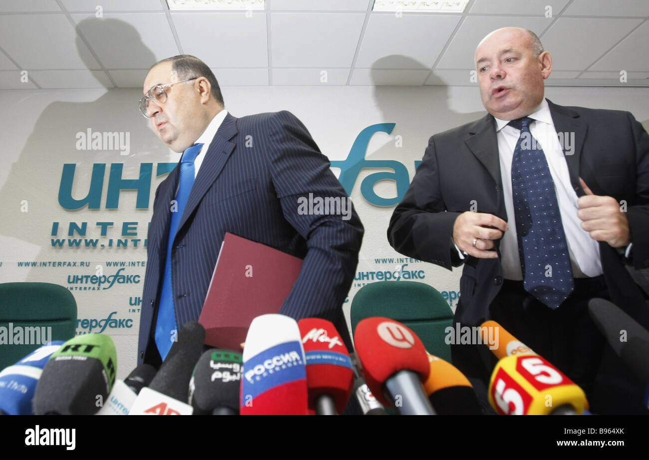 From right to left Russian tycoon Alisher Usmanov and Mikhail Shvydkoy head of Federal Agency for Culture and Film - Stock Image