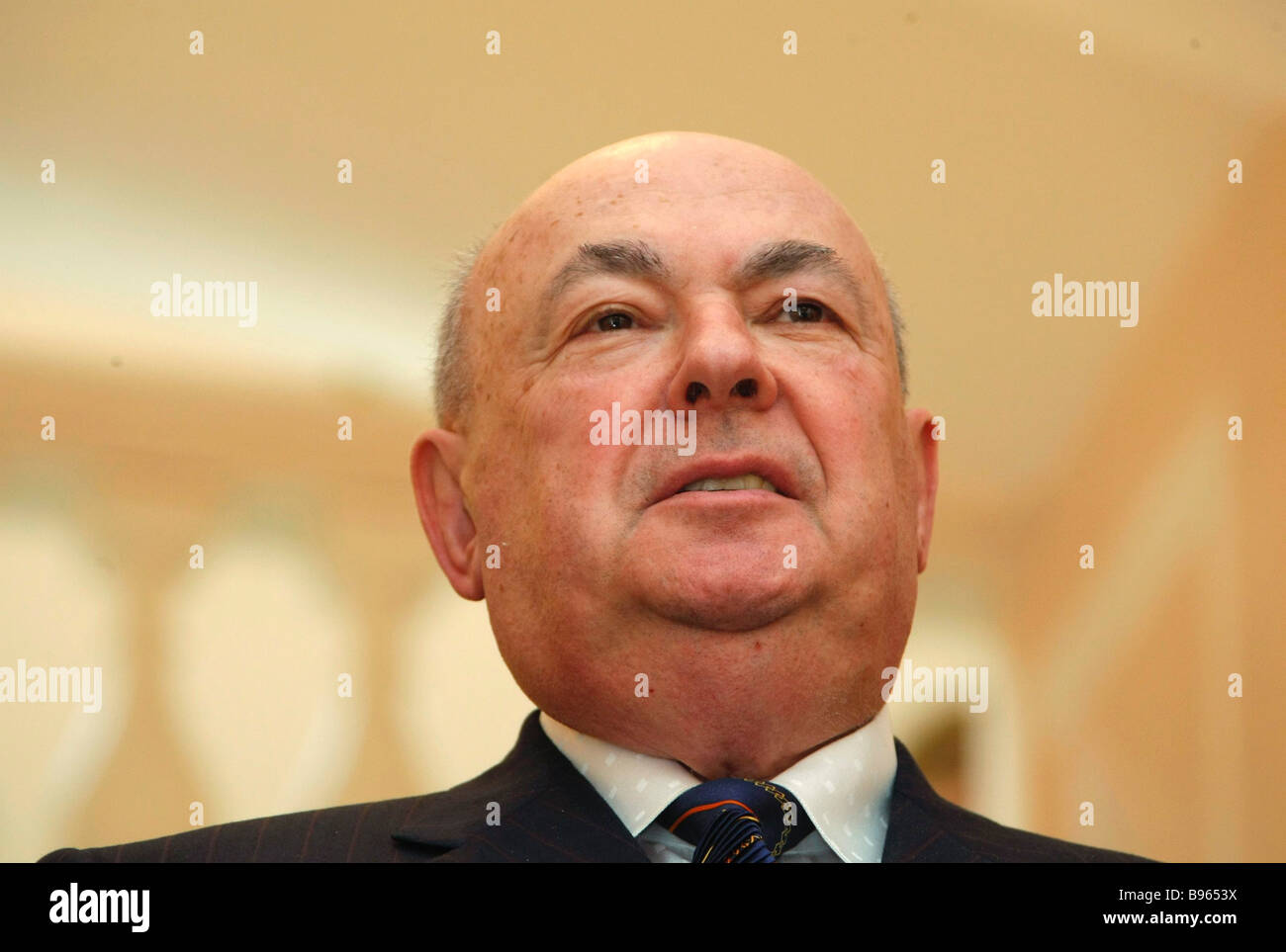 Moscow municipal construction supervisor Vladimir Resin at the re opening gala of the reconstructed Pashkov Mansion - Stock Image
