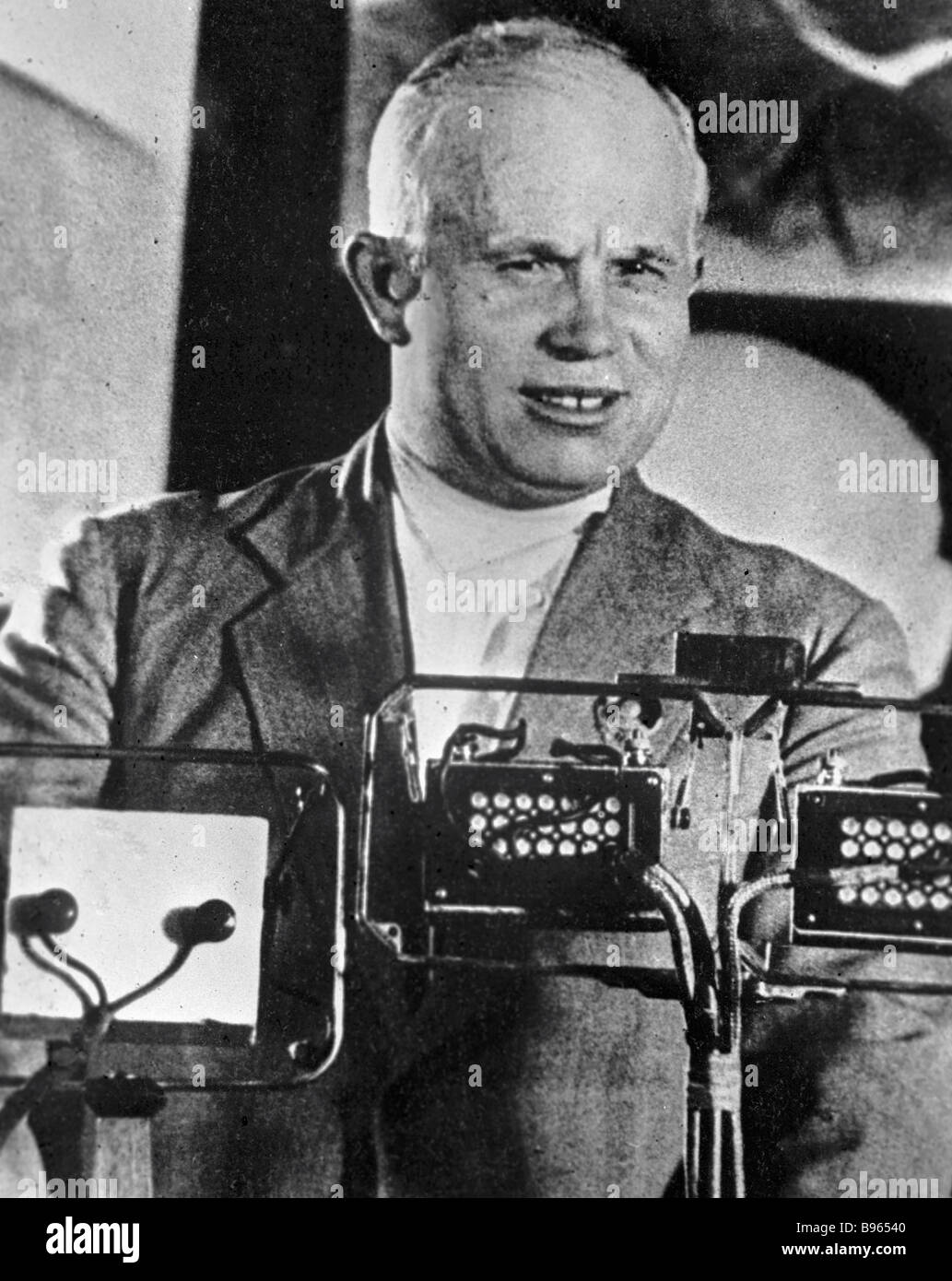 Nikita Khrushchev first secretary of the Moscow Communist Party Committee speaking out - Stock Image