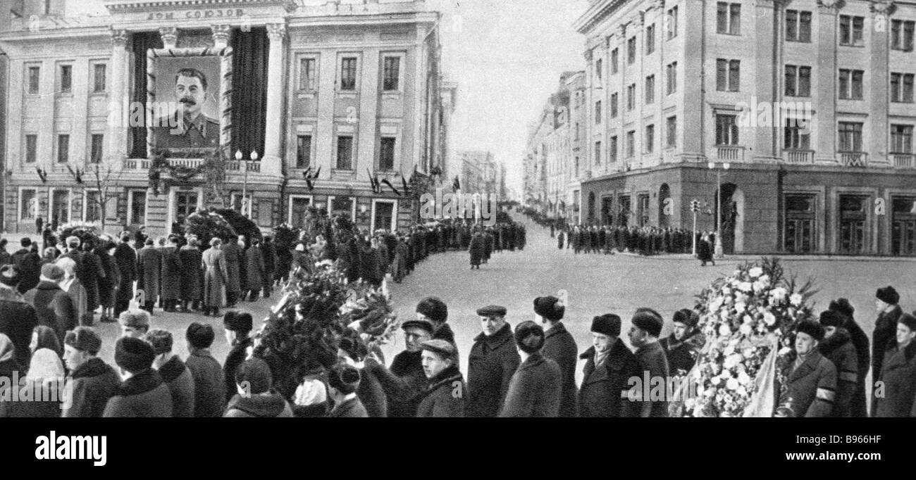 Funerals of Joseph Stalin near the House of Unions Moscow - Stock Image