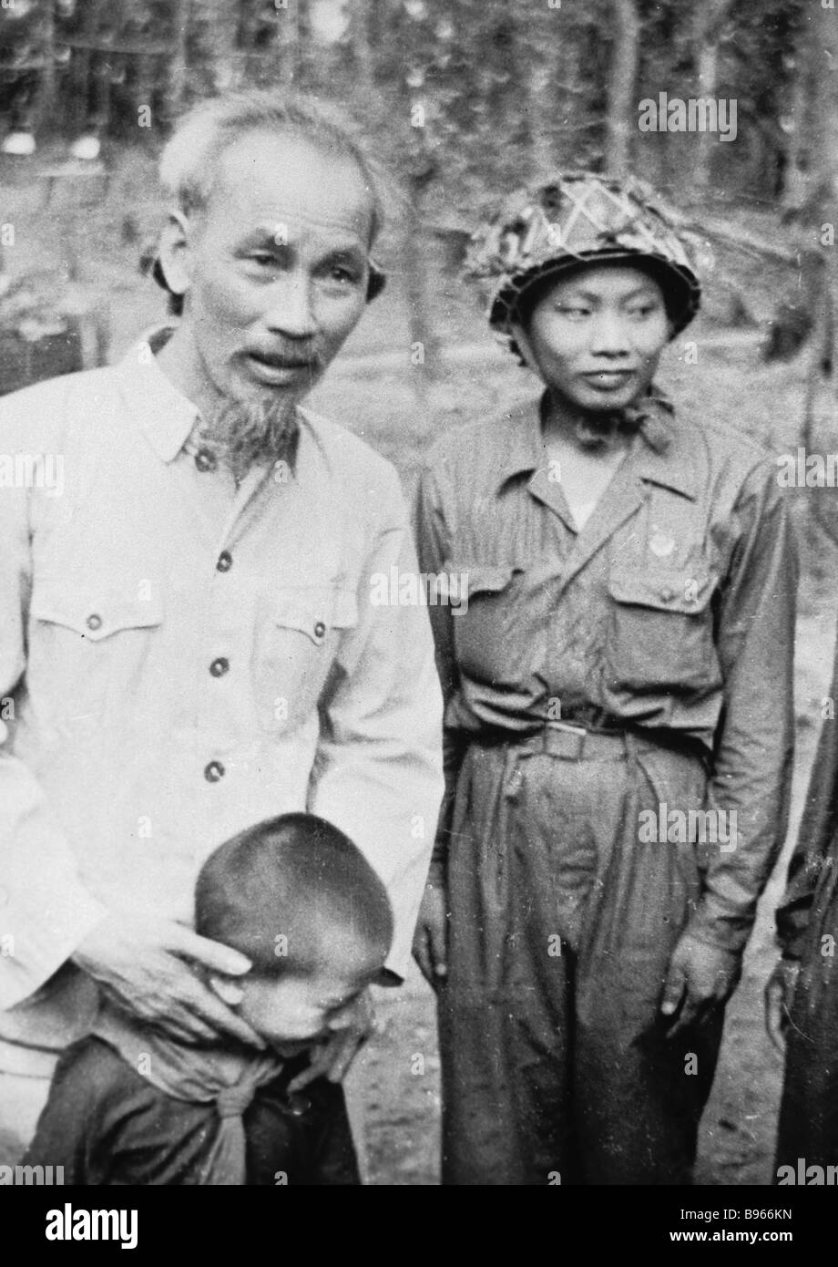 Ho Chi Minh Chairman of the Central Committee of the Vietnamese Workers Party left - Stock Image