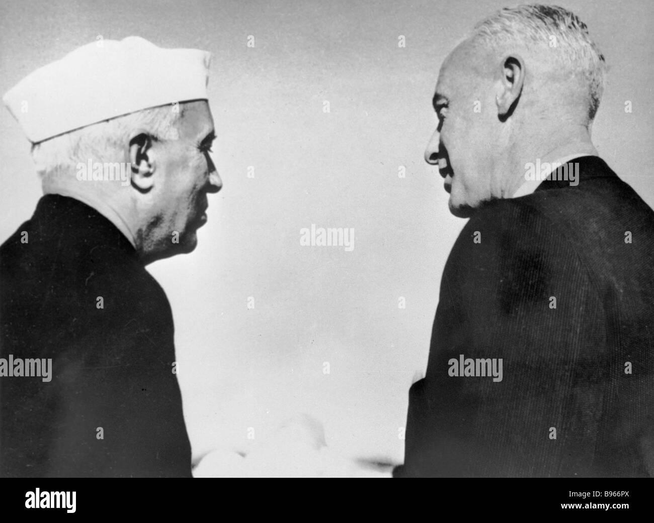 Indian Prime Minister Jawaharlal Nehru left and Soviet documentary film maker Roman Karmen right - Stock Image