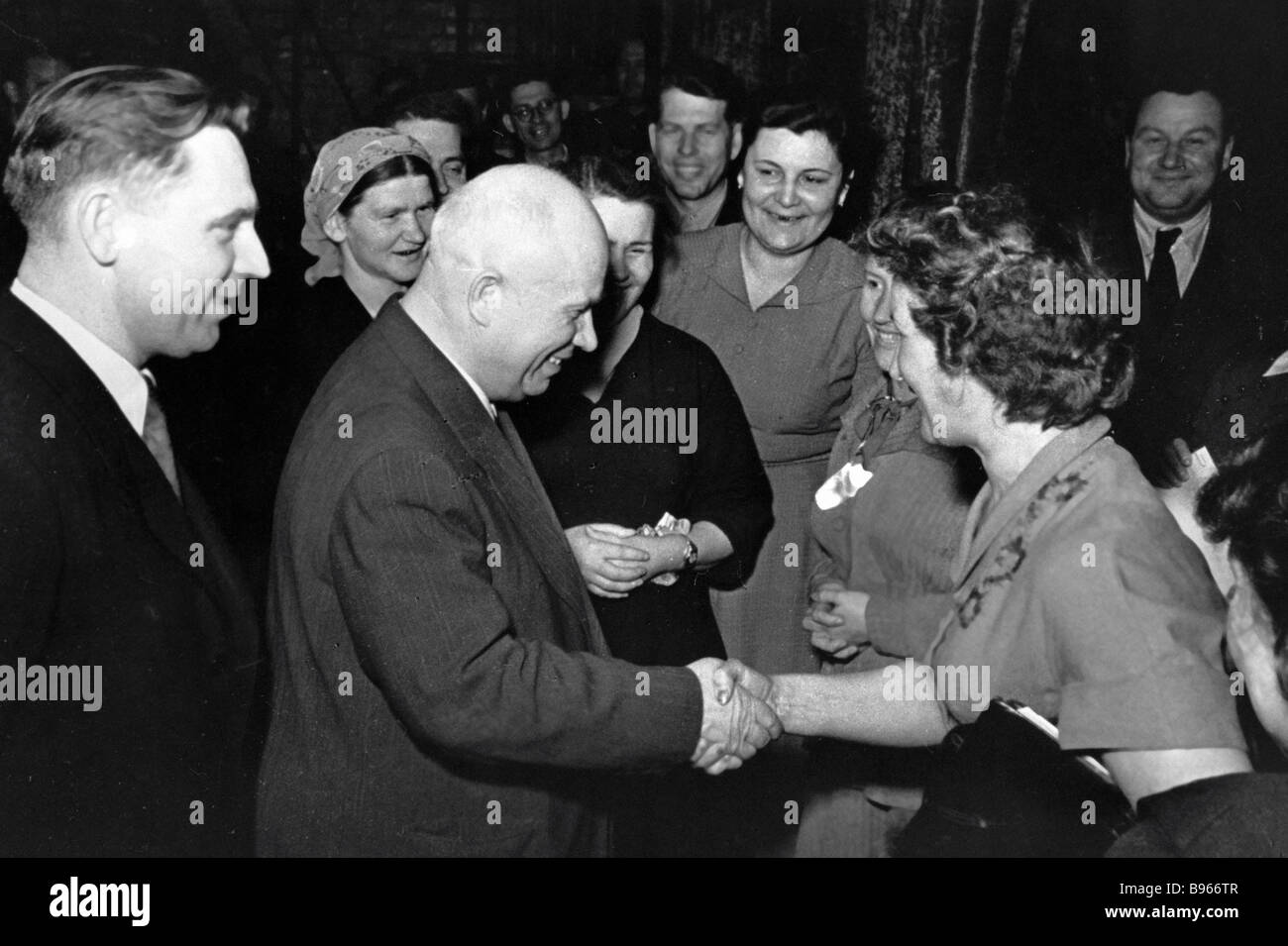 Nikita Khrushchev second left talking to Krasnodar Territory state farm associates - Stock Image