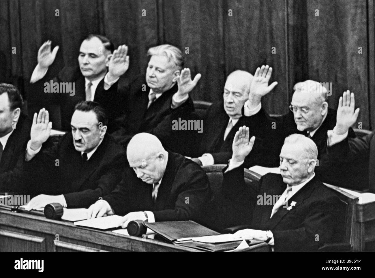 Appointing Nikita Khrushchev center to the post of Chairman of the USSR Council of Ministers Government during the - Stock Image