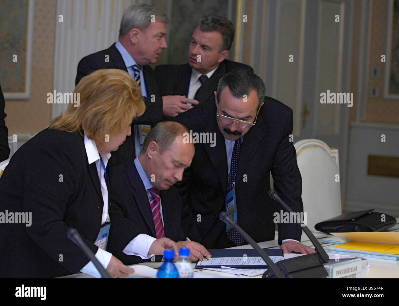 6 October 2007 Russia President Vladimir Putin centre at the EurAsEC Interstate Council session in Somon Palace - Stock Image