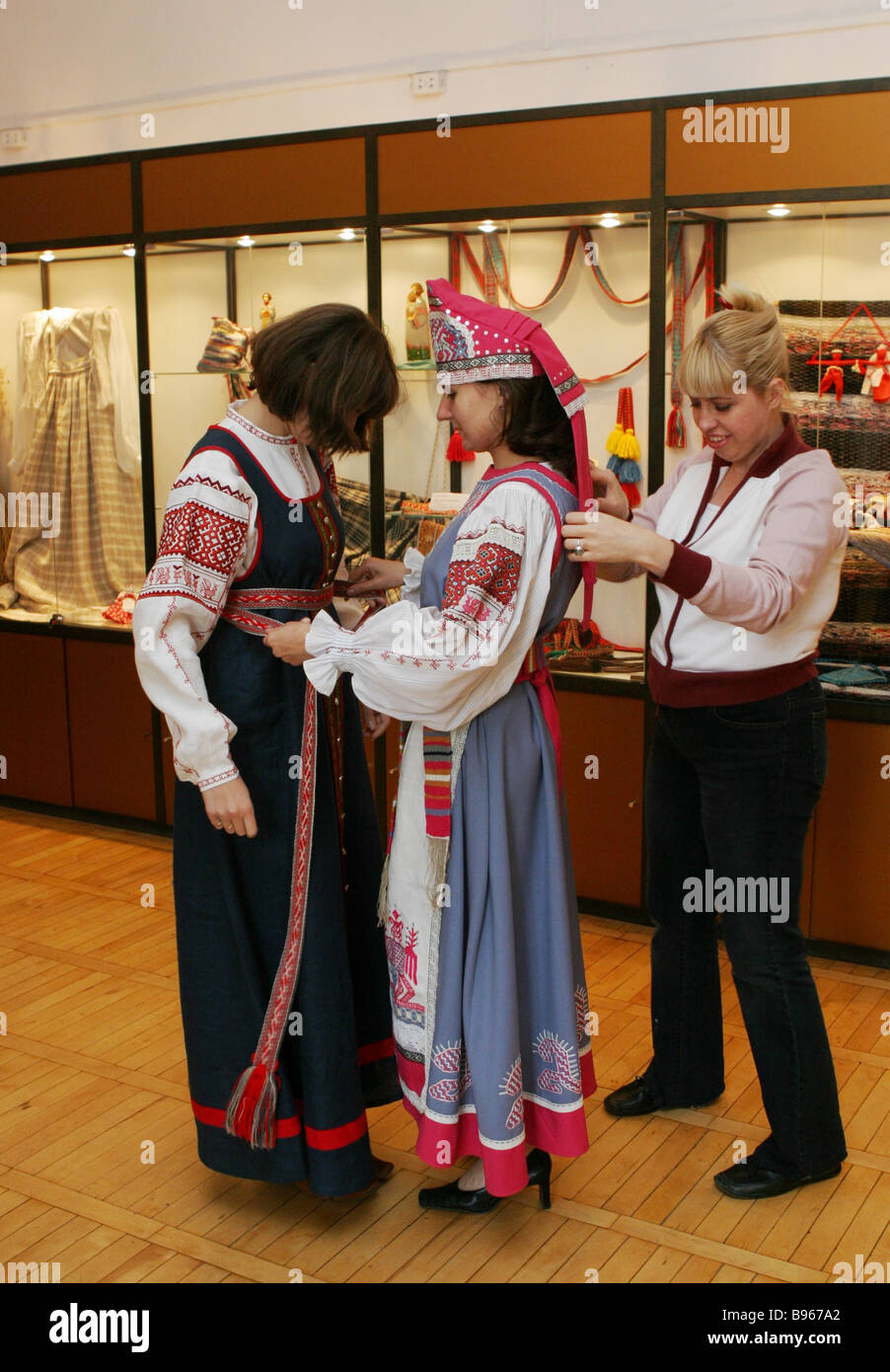 Before the opening gala of the Tver Motifs old and present day local costume show - Stock Image