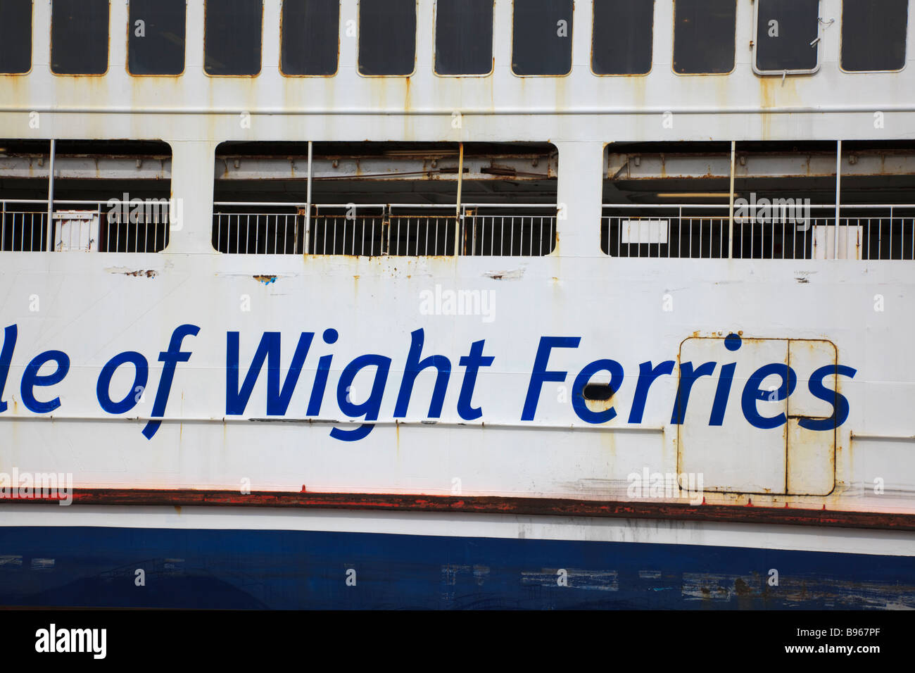 Detail of a rusting Ferry on the Portsmouth to Isle of Wight Route - Stock Image