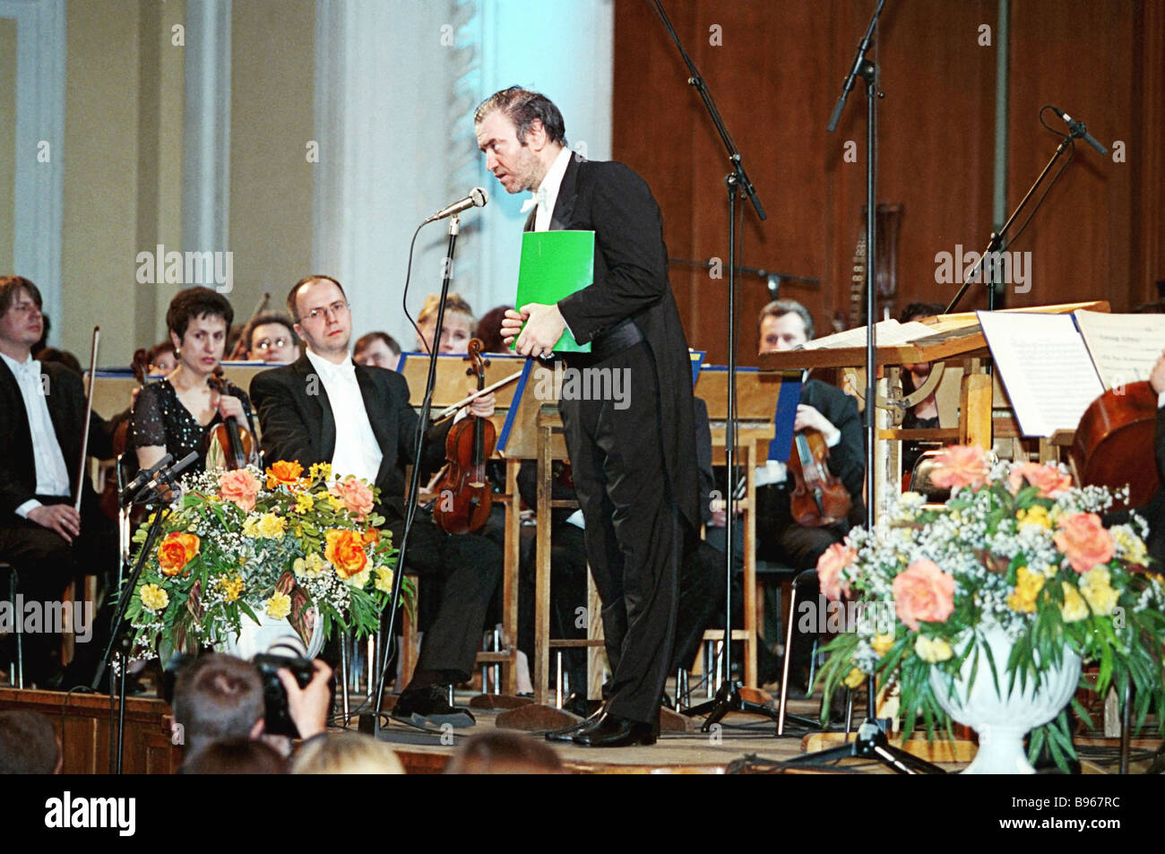 Valery Gergiyev, art director of the First Moscow Easter Day Festival, performing at the Moscow Conservatoire's - Stock Image