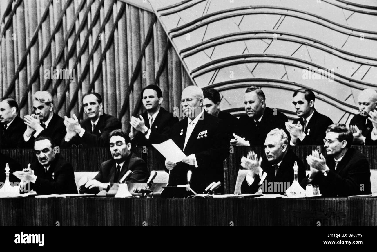 First Secretary of the CPSU Central Committee Nikita Khrushchev standing Chairman of the Presidium of the USSR Supreme Stock Photo