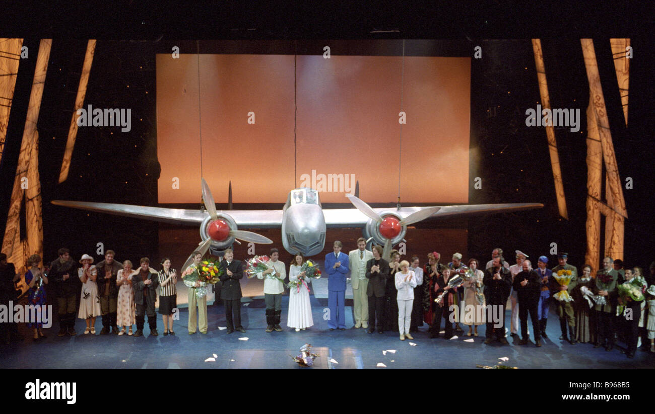 Actors of a new version of the musical Nord Ost shown in the Theater Center on Dubrovka before the beginning of Stock Photo