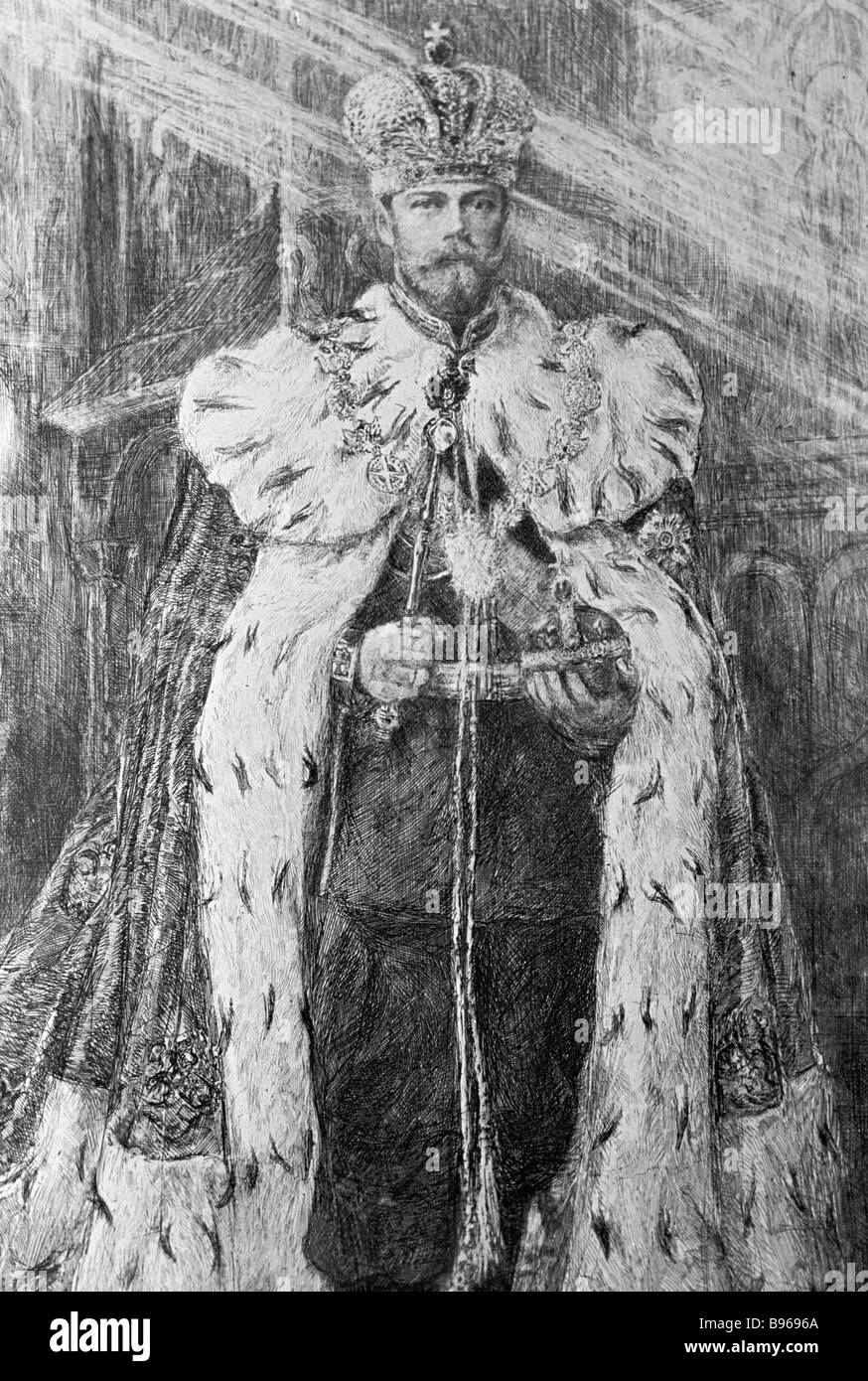 A reproduction of a portrait of Nicholas II in coronation robes An etching by V V Mate - Stock Image