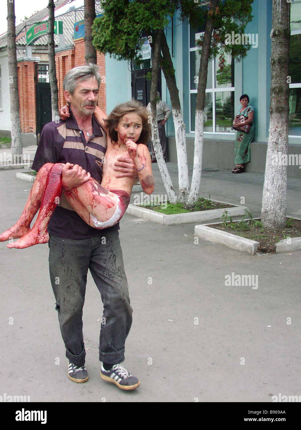 The authorities saved these hostages who suffered during the terrorist act in Beslan - Stock Image
