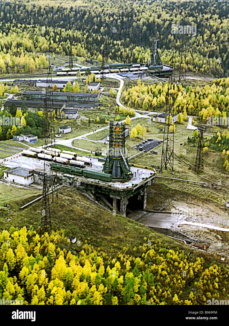 Placing Soyuz rocket on launch pad of Plesetsk space center From archives of the Russian Space Research Institute - Stock Image
