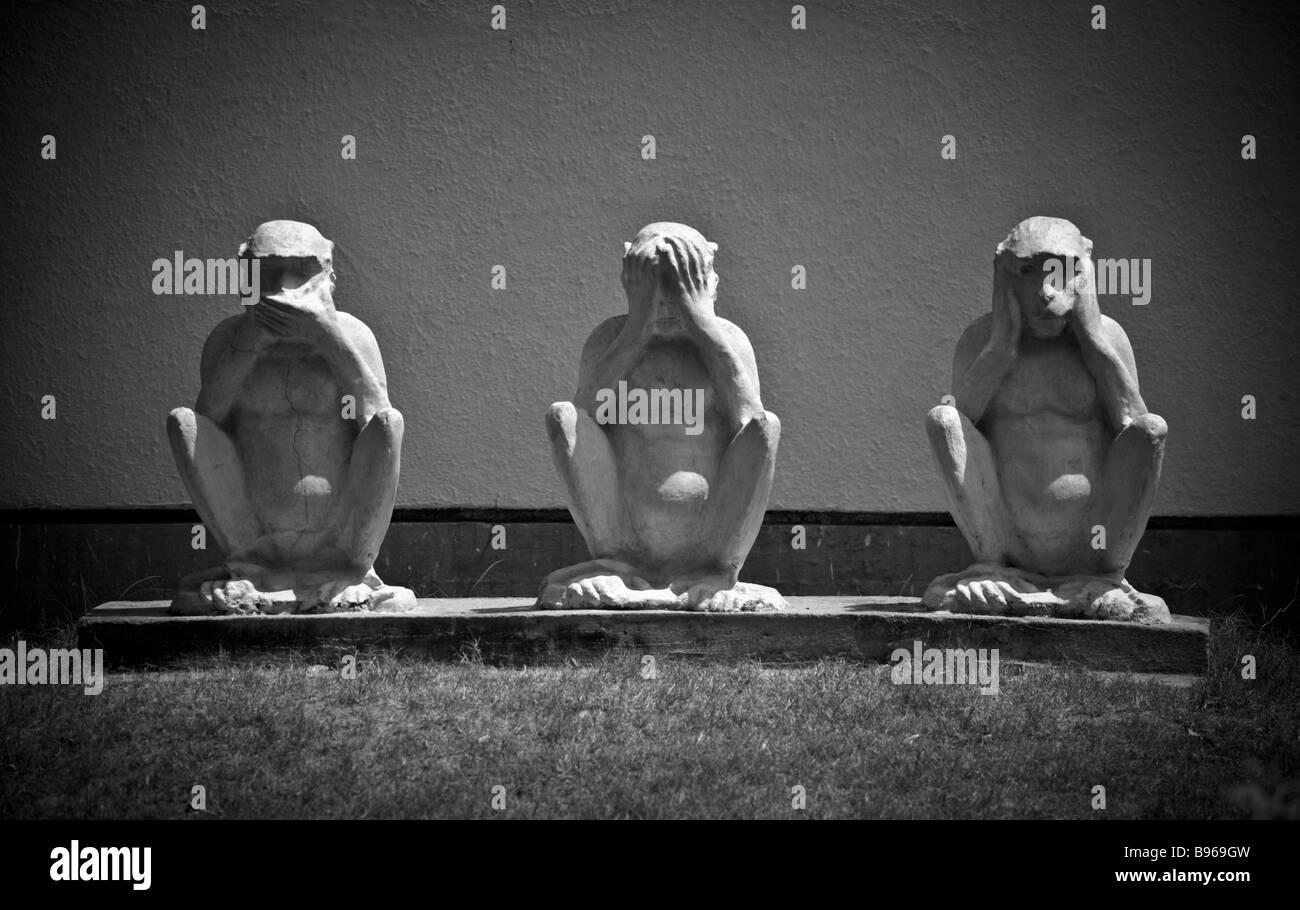 Three wise monkeys at the Sabarmati Ashram, known as Gandhi Ashram in Ahmedabad, India - Stock Image