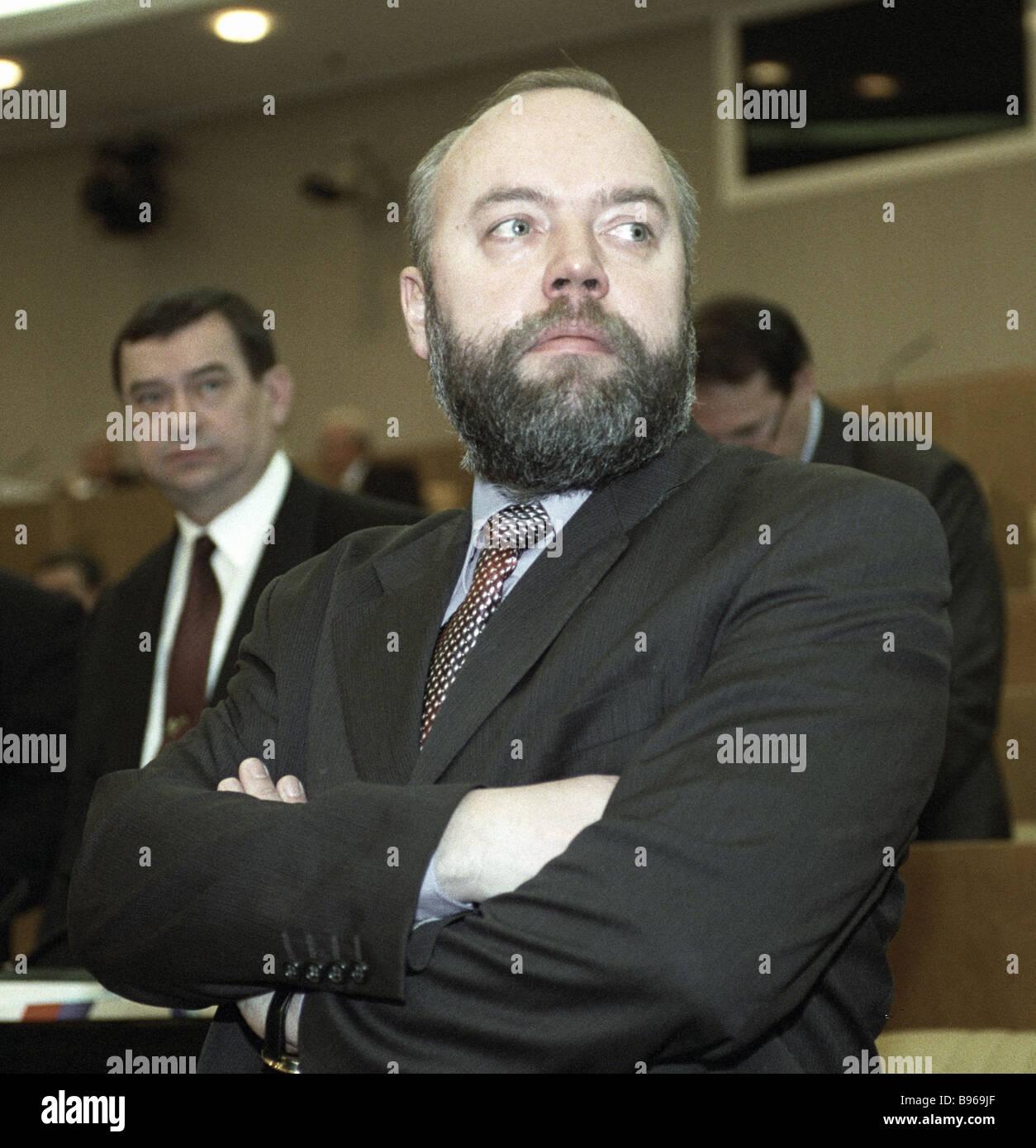 Chairman of the committee on civilian criminal arbitration and procedural legislation Pavel Krasheninnikov - Stock Image