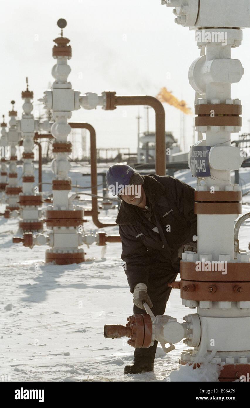 A Surgut oilfield derrick operator Branch 57 - Stock Image