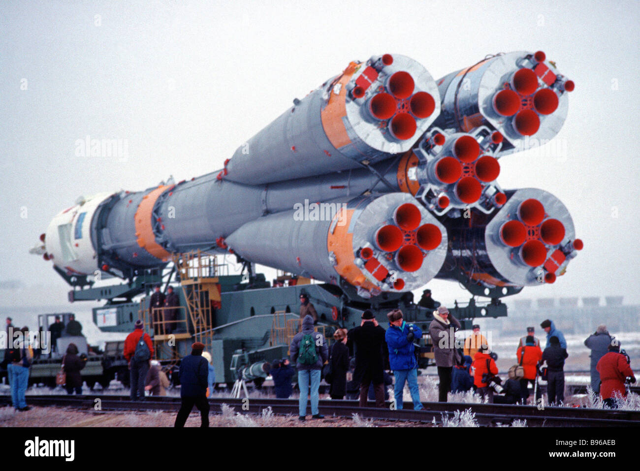 Soyuz launch vehicle moving toward launch pad - Stock Image
