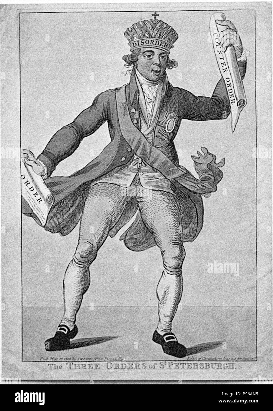 An 18th century British cartoon of Russian Emperor Paul I From collection of Moscow resident Yakov Zak - Stock Image