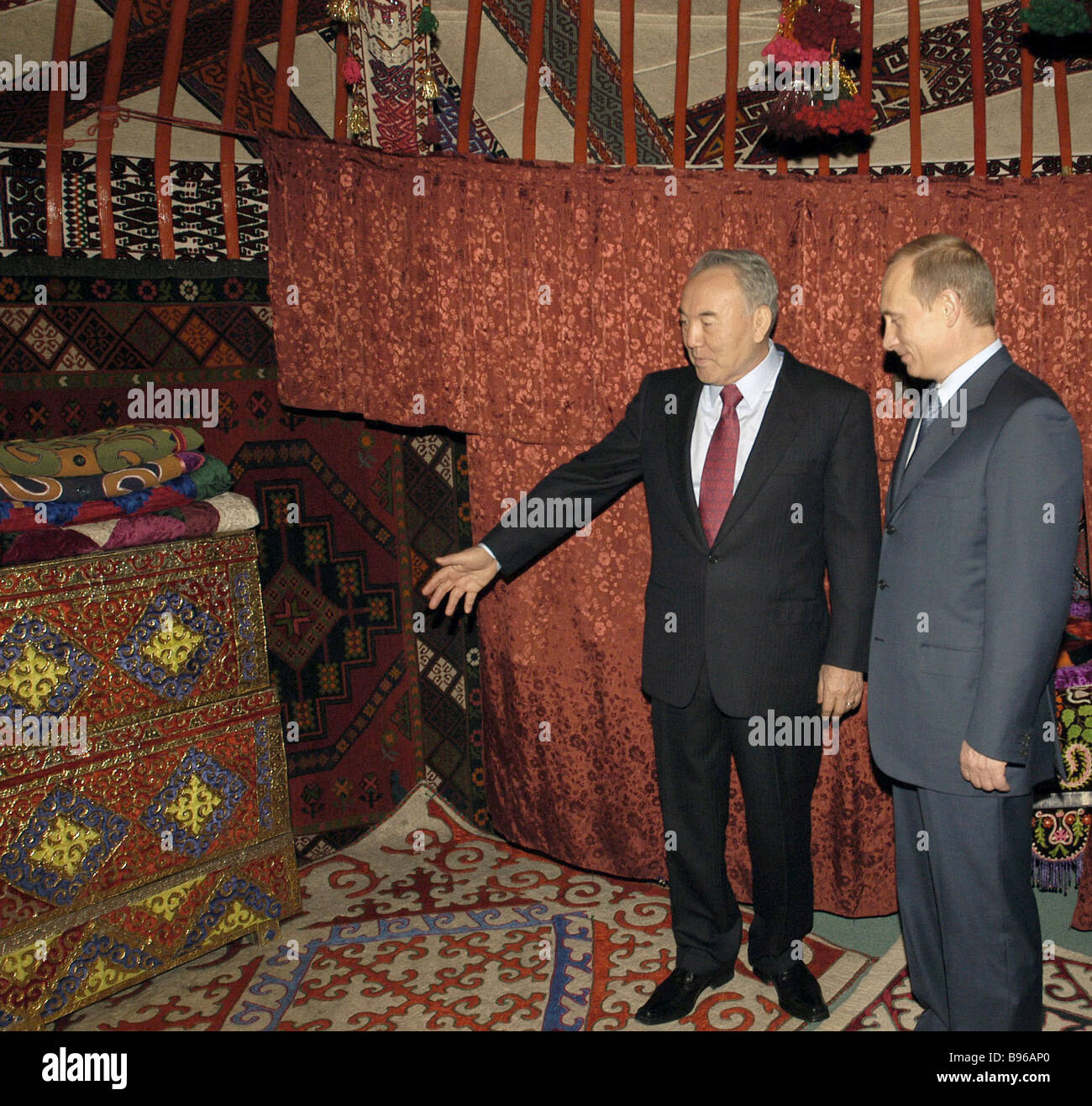 Russian President Vladimir Putin accompanied by Kazakh President Nursultan Nazarbayev at Astana based Presidential - Stock Image
