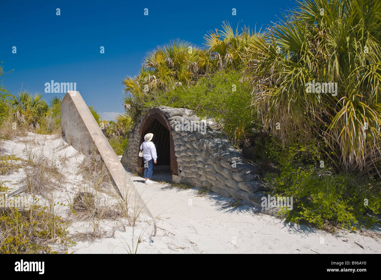 Fort Dade military bunker in Egmont Key State Park at the entrance to Tampa Bay on the Gulf Of Mexico in Florida - Stock Image