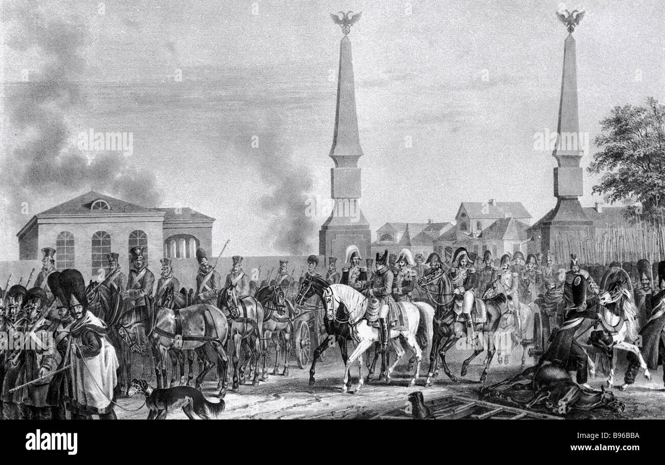 Napoleon Leaves Moscow through the Kaluga Toll Gates October 7 1812  Engraving by Faber du Fort