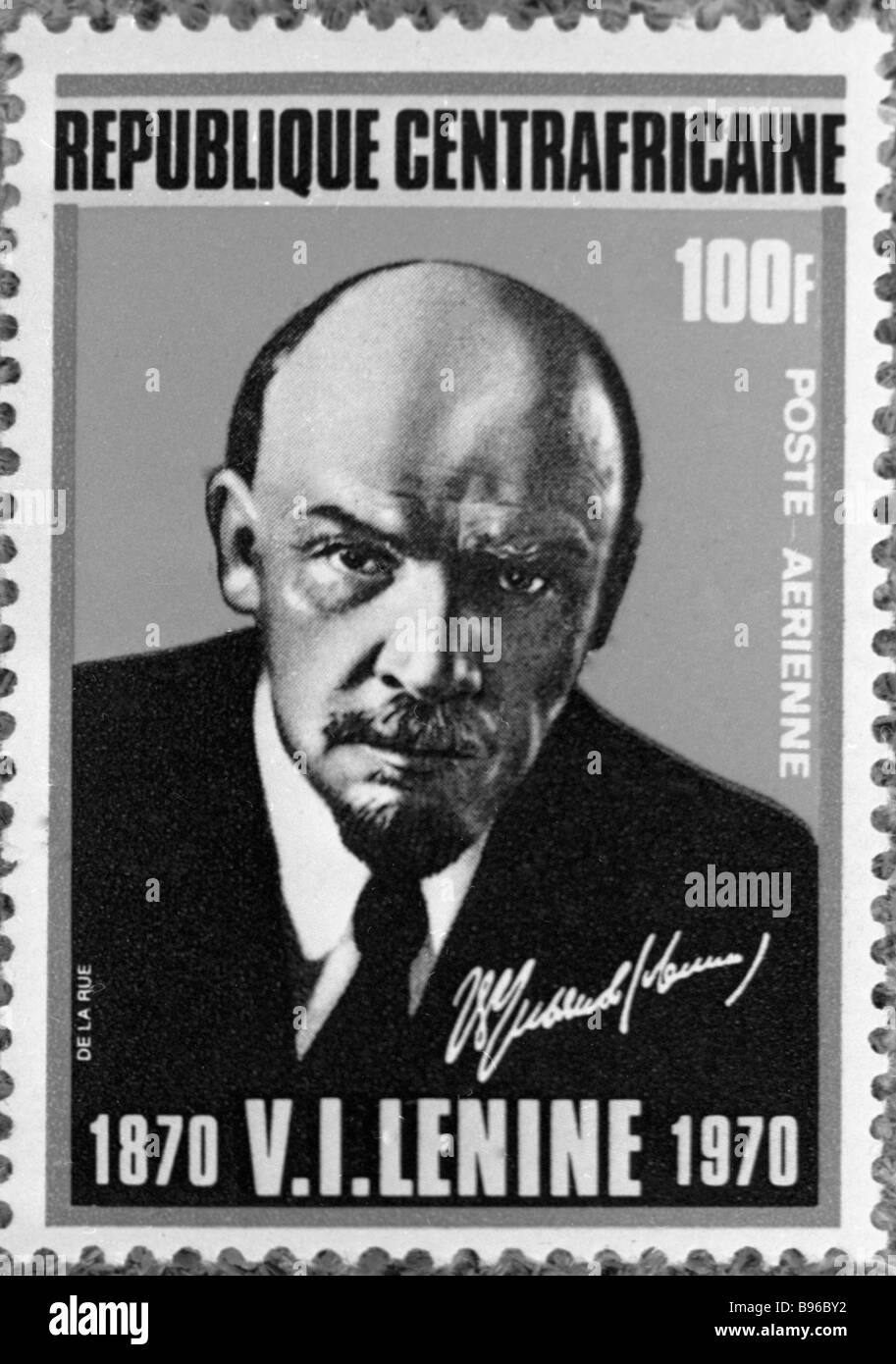 The Central African Republic issued this postal stamp to commemorate Lenin s birth centenary - Stock Image