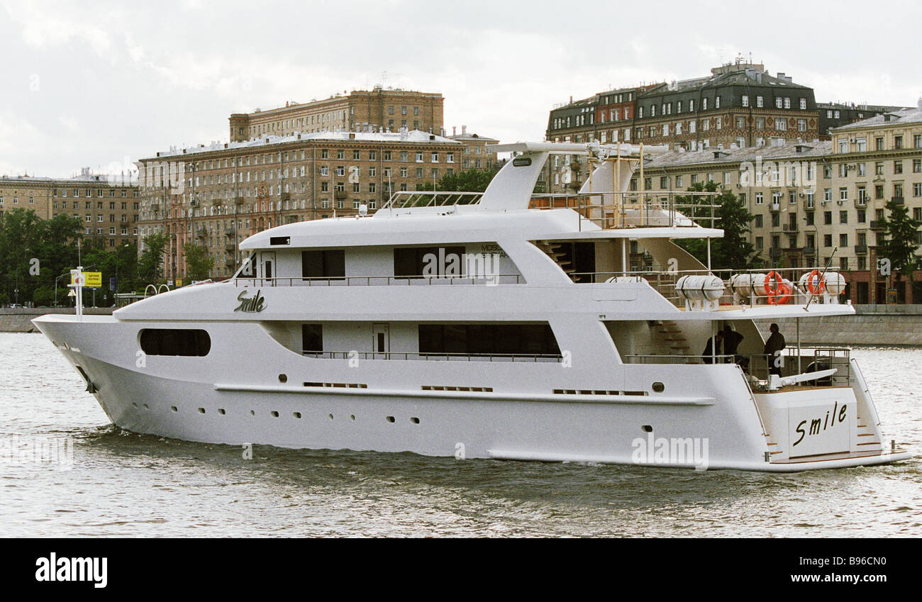 Presentation of de luxe class yacht manufactured at the Moscow ship yards - Stock Image