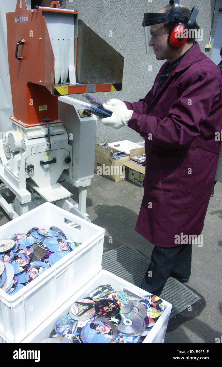 Equipment to destroy rejected and counterfeit products at Roff Technologies - Stock Image