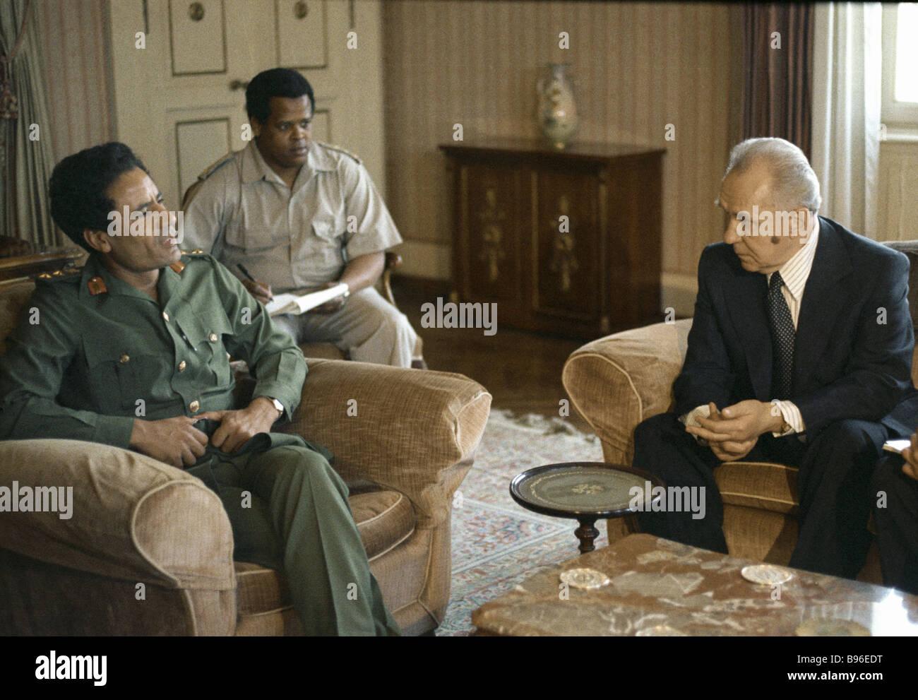 Soviet Prime Minister Alexei Kosygin right meets Libyan leader Muammar al Gaddafi - Stock Image