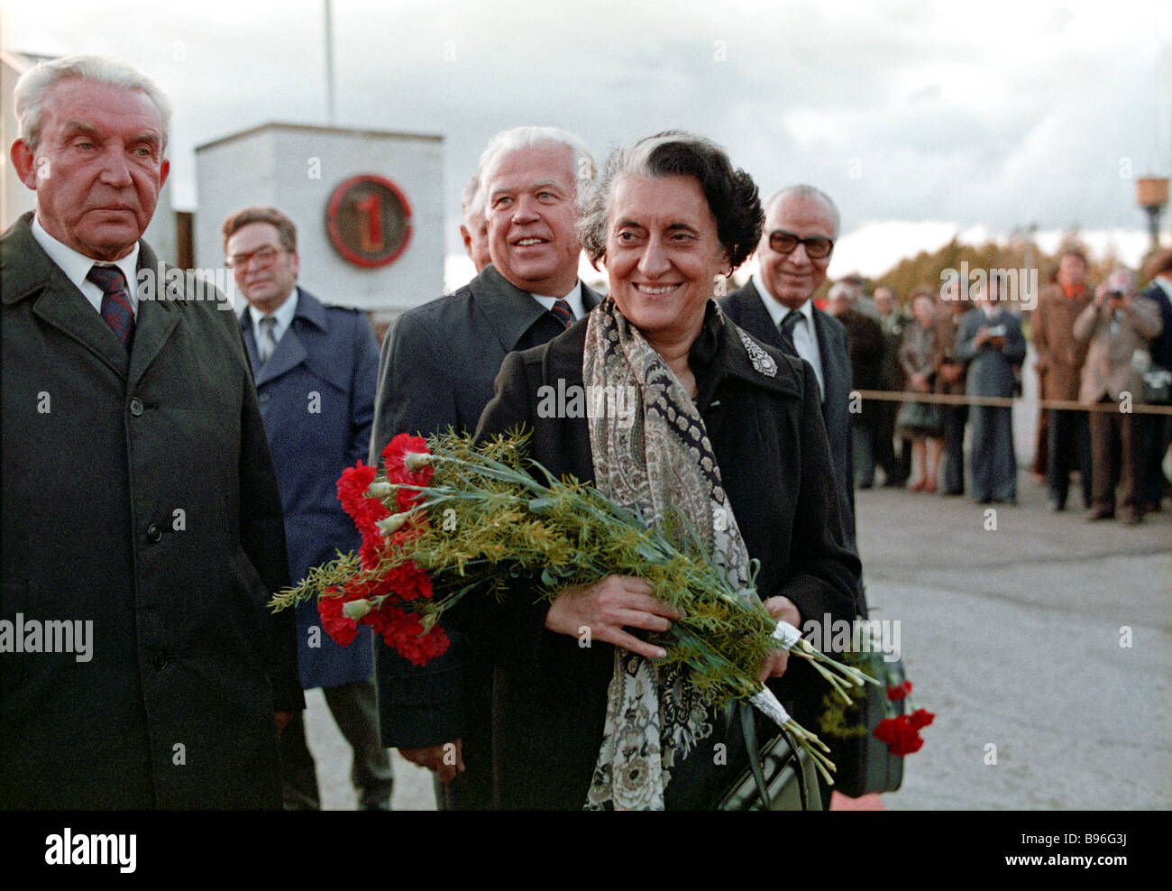 Indian Prime Minister Indira Gandhi on an official visit to the Soviet Union before flying from Tallinn to Kiev Stock Photo
