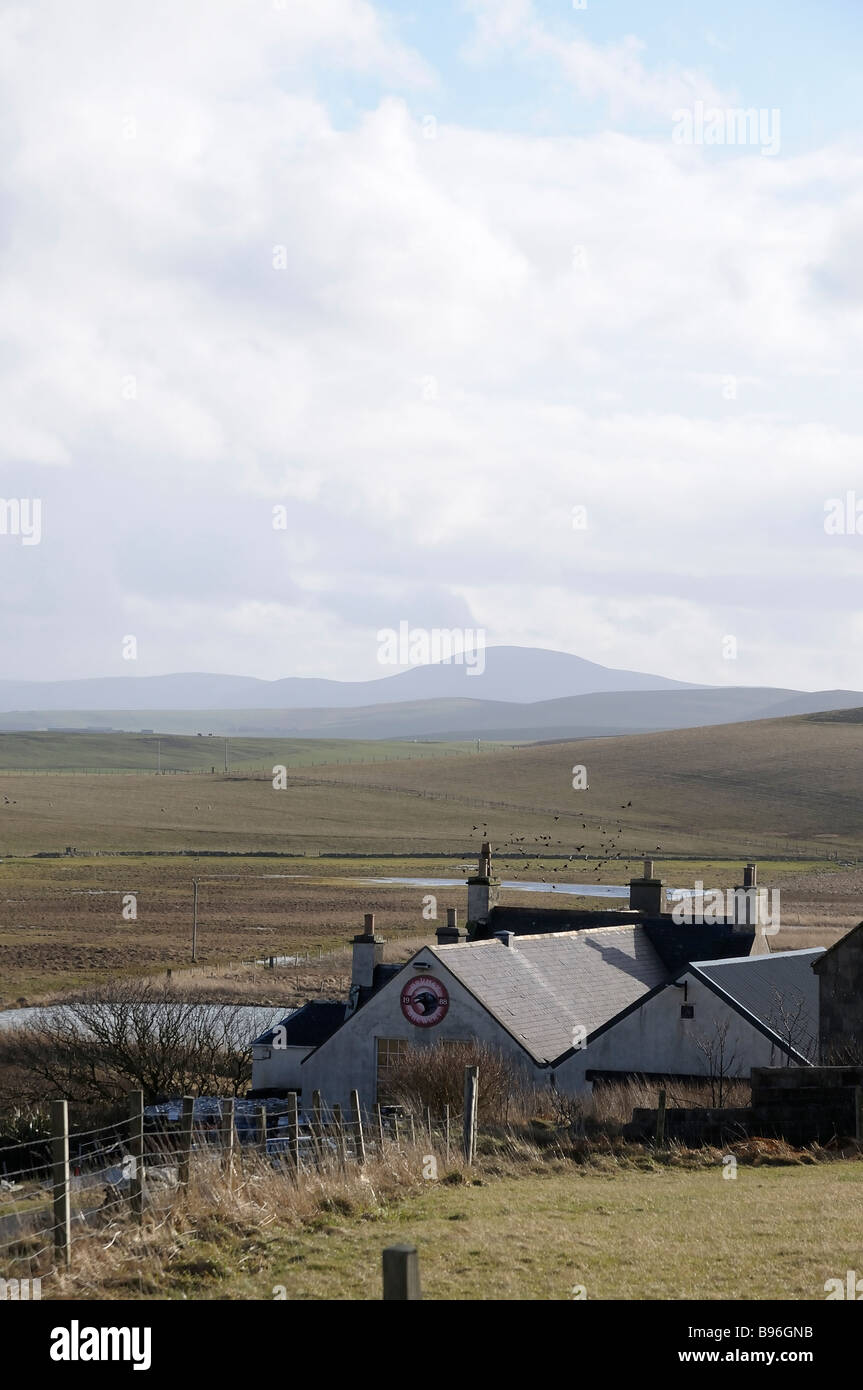 View of the remote Orkney Brewery, set amongst the rolling landscape of the Scottish Orkney Island's mainland - Stock Image