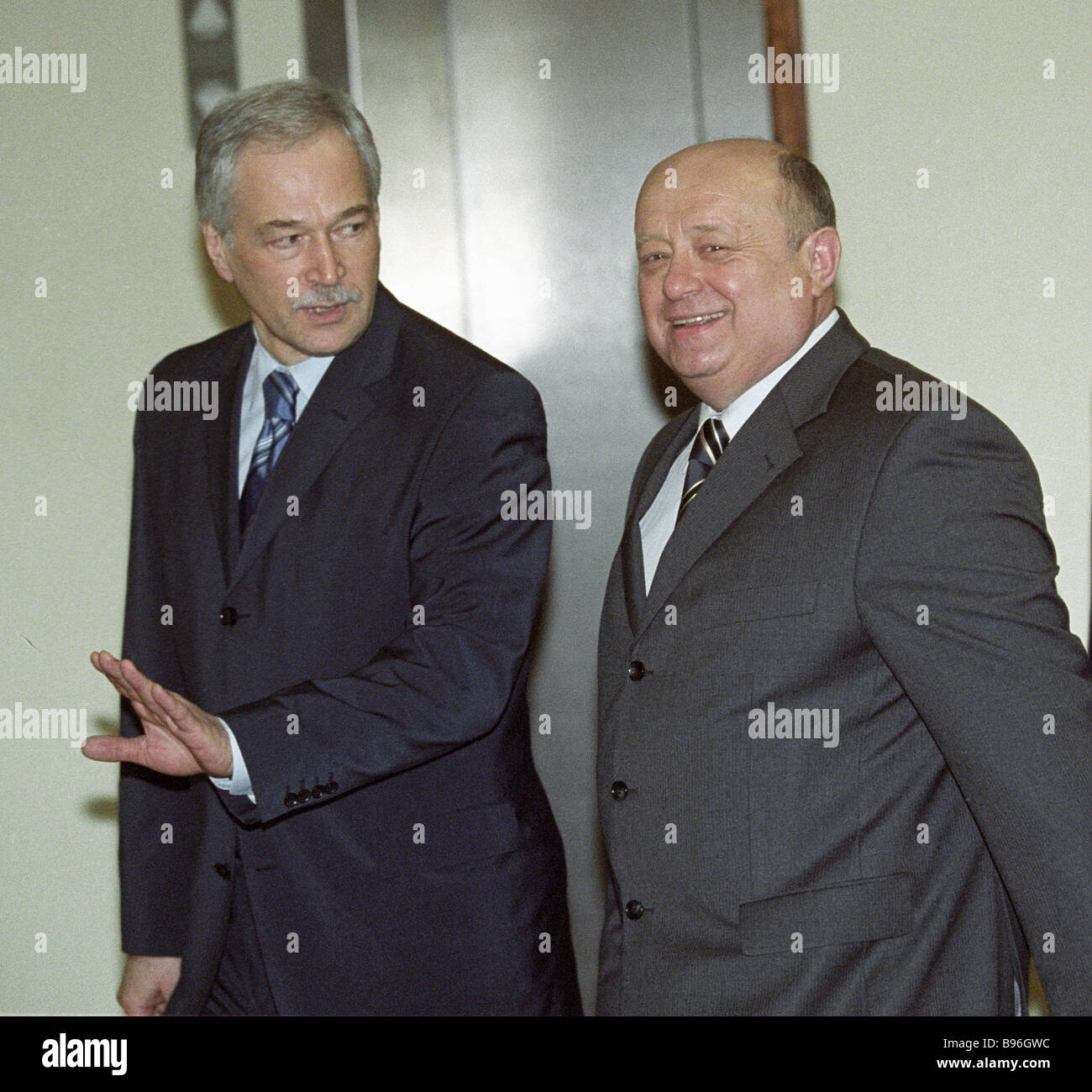 Mikhail Fradkov prime ministerial nominee right and Boris Gryzlov United Russia parliamentary group leader - Stock Image