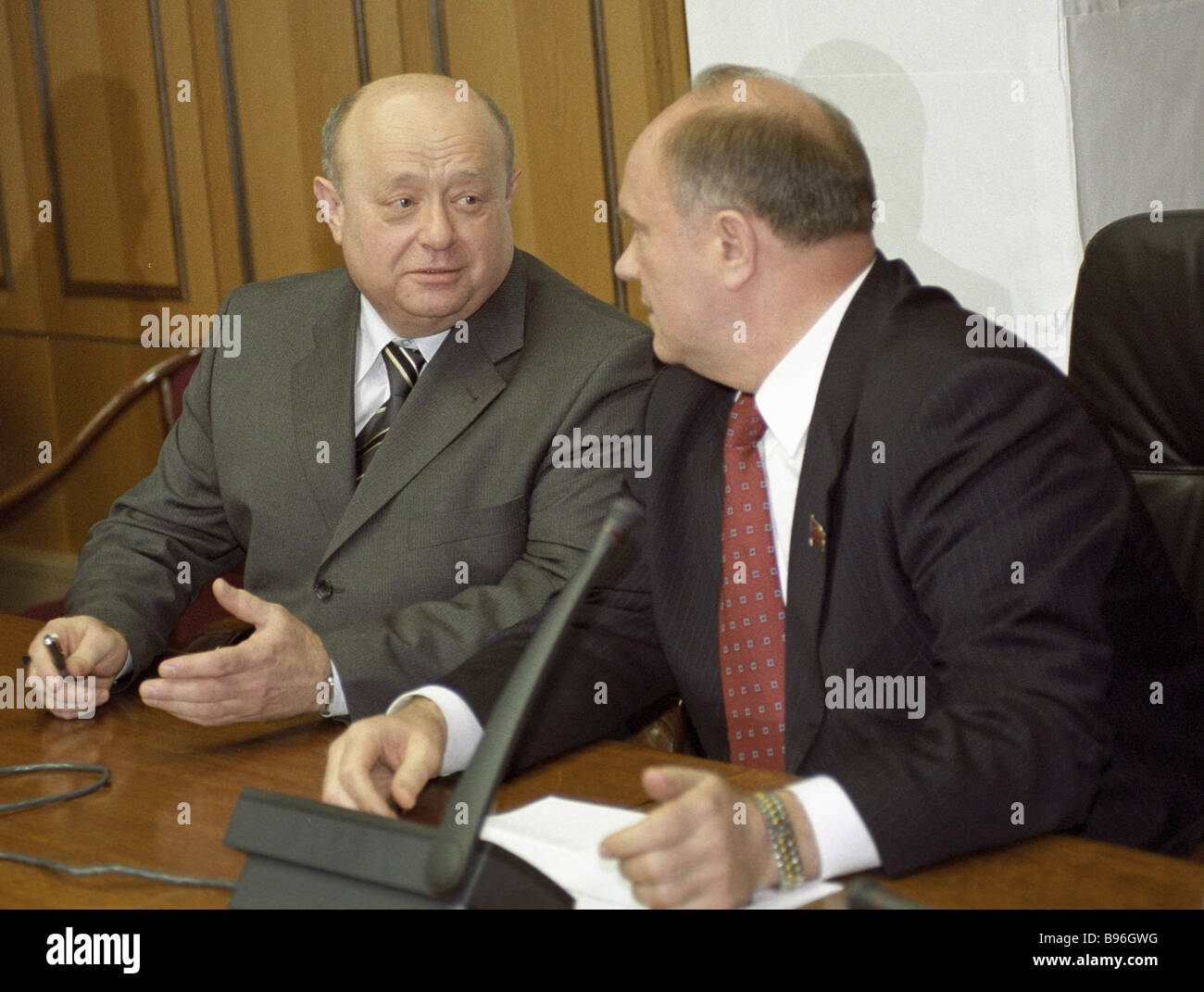 Mikhail Fradkov prime ministerial nominee left and Gennady Zyuganov Communist parliamentary group leader - Stock Image