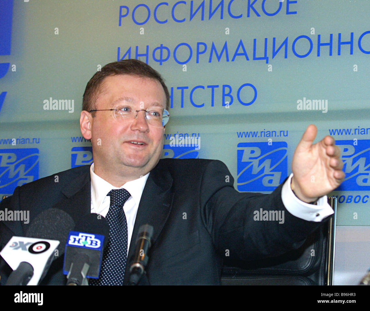 Alexander Yakovenko Spokesman for the Russian Foreign Ministry and Director of its Information and Press department - Stock Image
