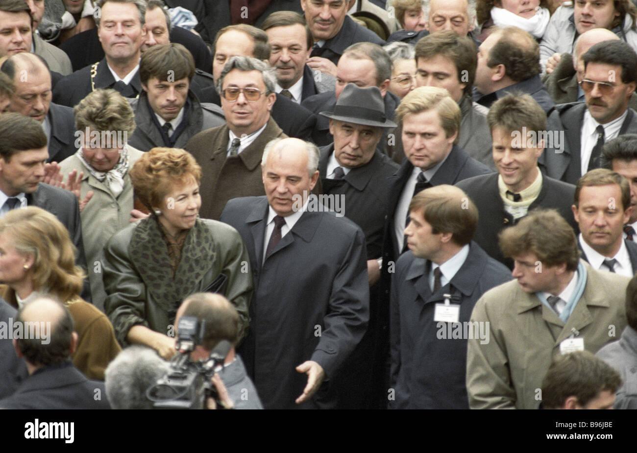 USSR Supreme Council Chairman Mikhail Gorbachev center right Raisa Gorbachev center left and chief of the KGB guard - Stock Image