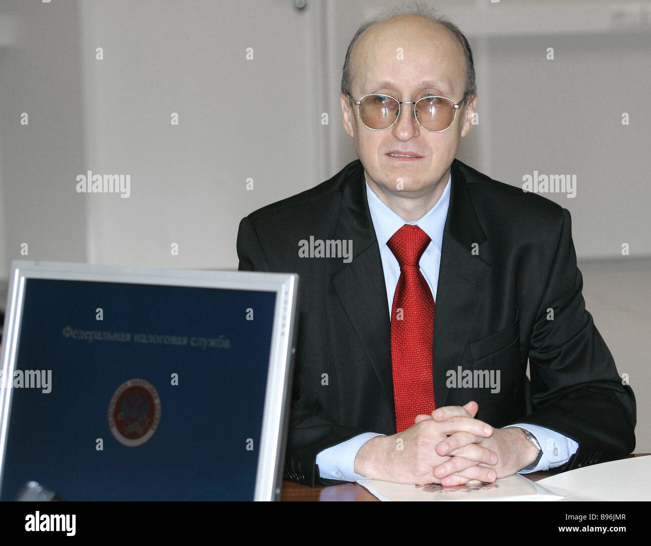 Mikhail Mokretsov head of the Federal Taxation Service at a meeting on taxation regulation - Stock Image