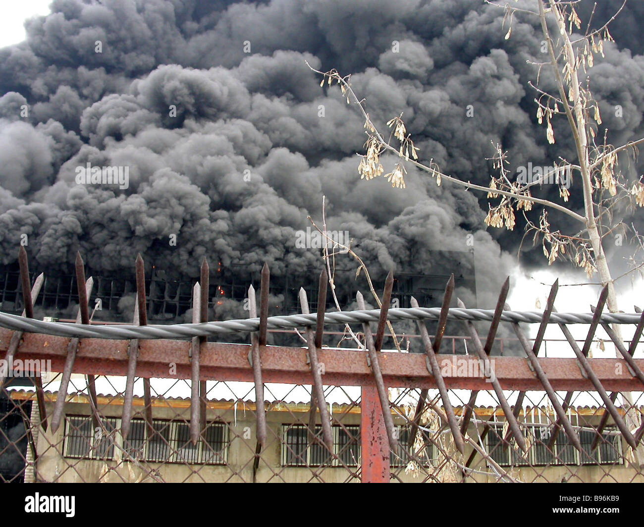 Polystyrole tile factory s four floors swept by fire in the Moscow suburban town of Lyubertsy Hot spot area about - Stock Image