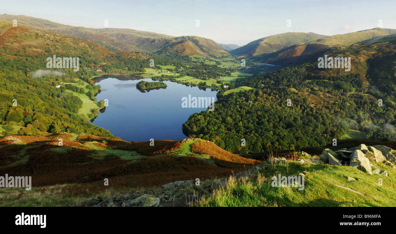 Calm Grasmere from Loughrigg Fell, Lake District - Stock Image
