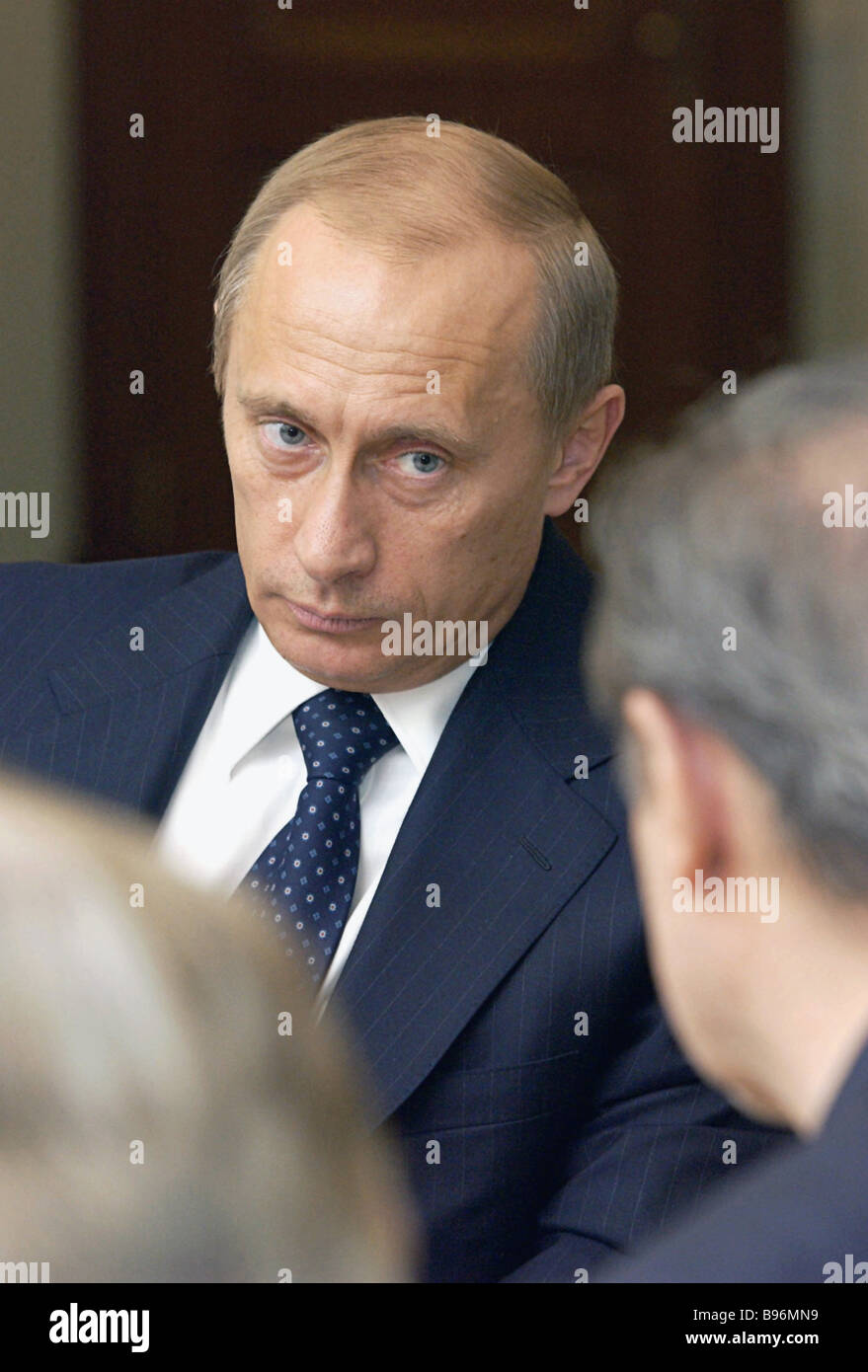 Russian President Vladimir Putin during a meeting with directors of the Moscow Maly Theater and the St Petersburg - Stock Image
