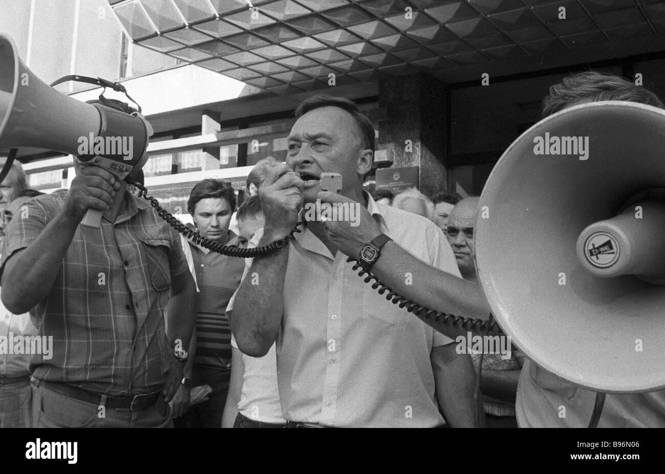Speech by the former Soviet KGB Major General retired Oleg Kalugin at the rally in Krasnodar on the occasion of - Stock Image