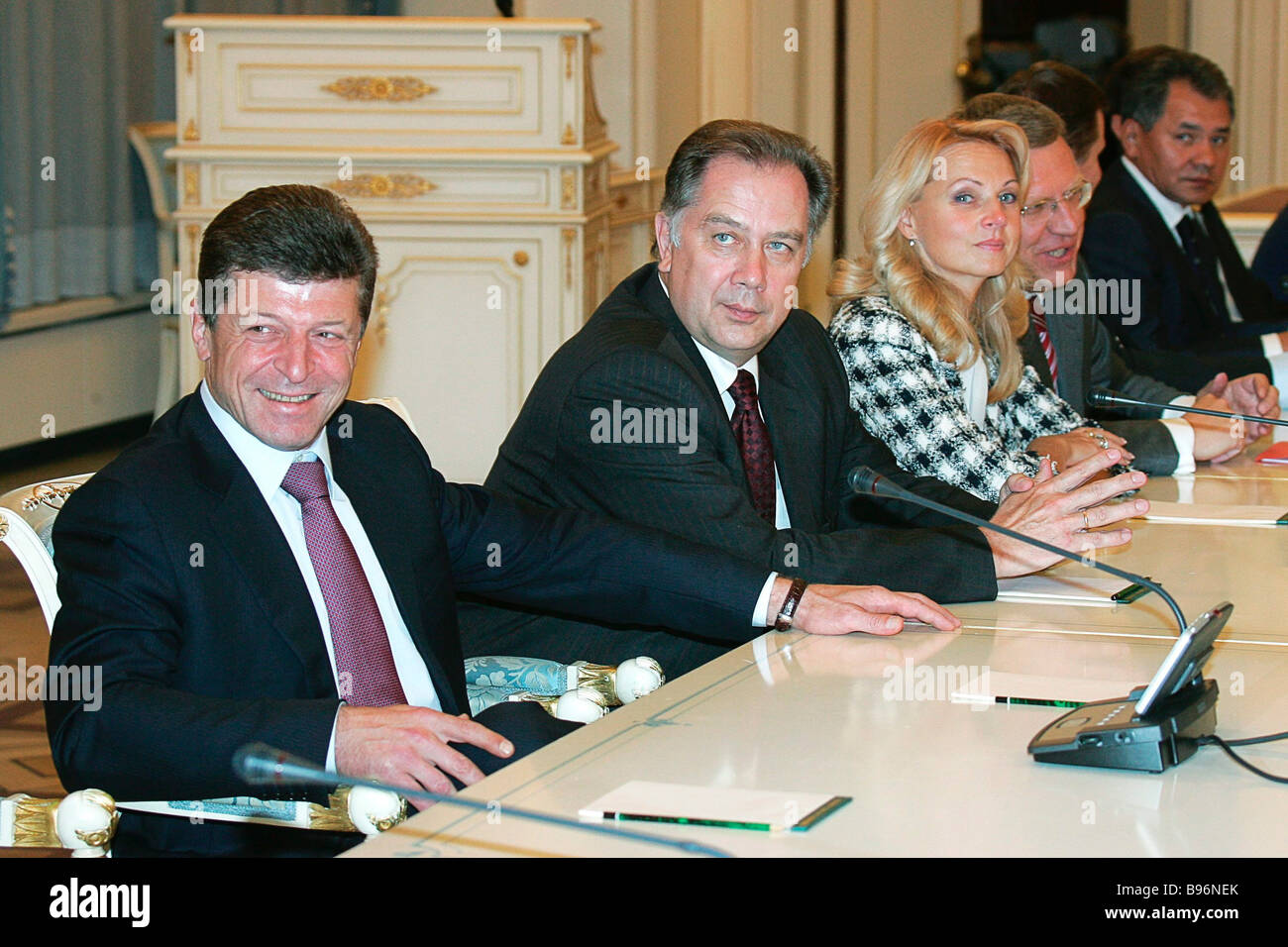 President Vladimir Putin announced the membership of the new Russian Cabinet From left to right Dmitry Kozak the - Stock Image