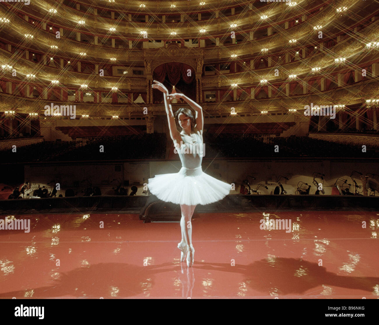 A dancer rehearsing on the Bolshoi stage - Stock Image