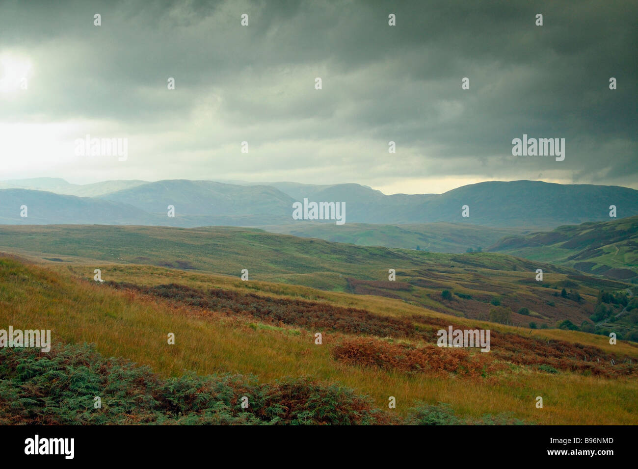 Looking north into the Scottish Highlands, from Callander Craig, Perthshire - Stock Image