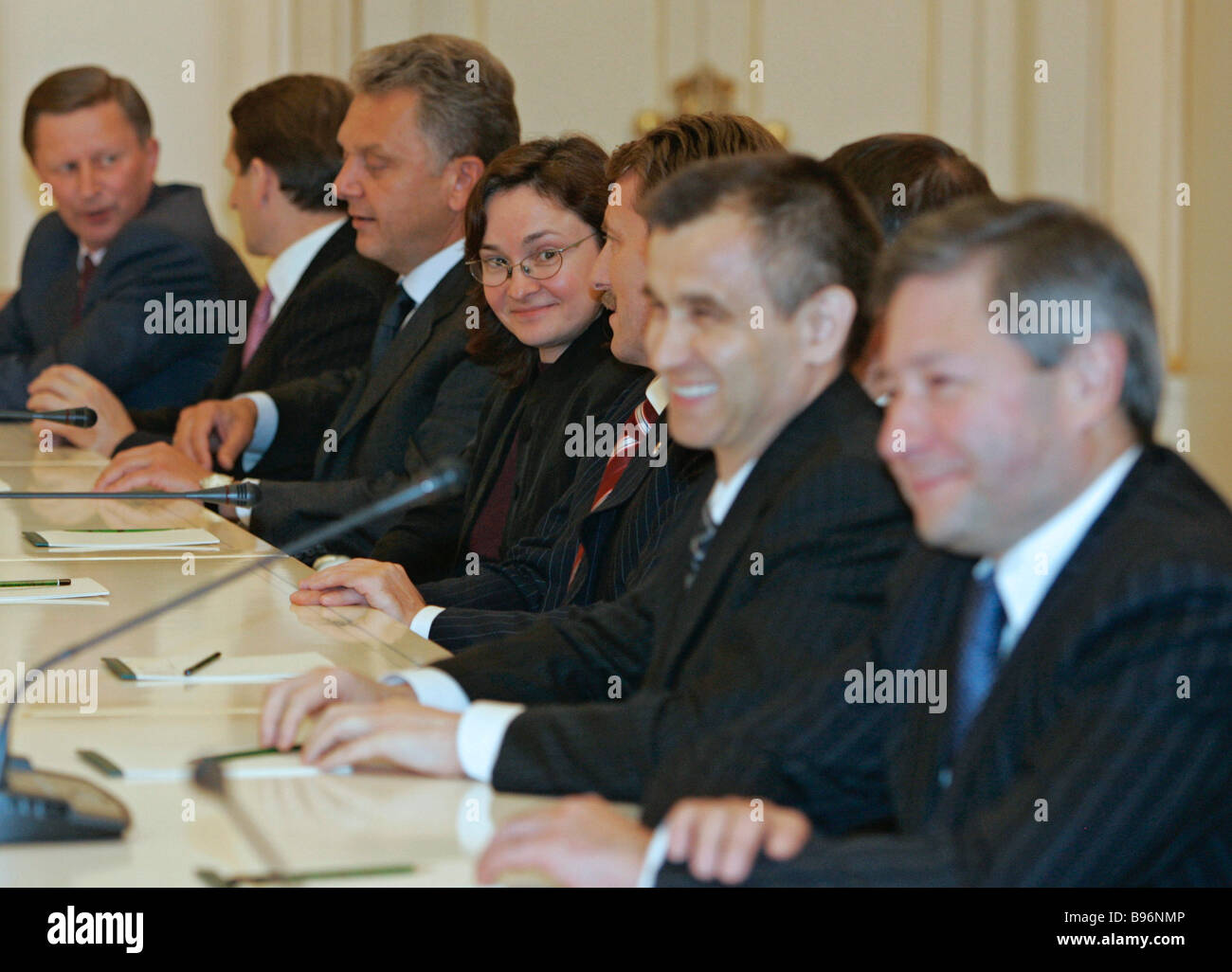 President Vladimir Putin has announced the membership of the new Russian Cabinet September 24 2007 From left to - Stock Image
