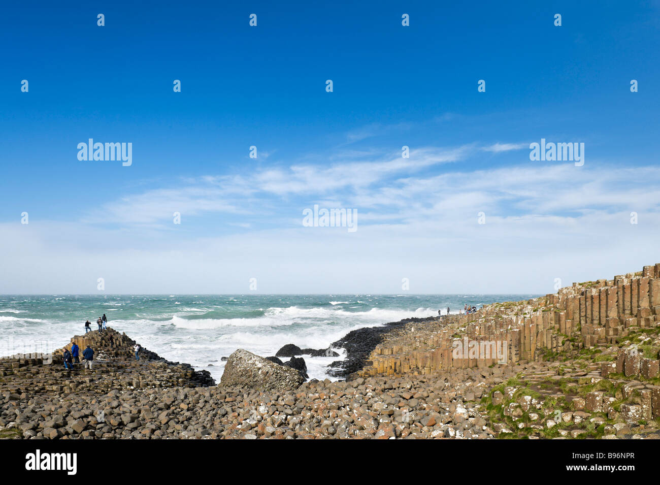 The coast at the Giant's Causeway, North Antrim Coast, County Antrim, Northern Ireland - Stock Image