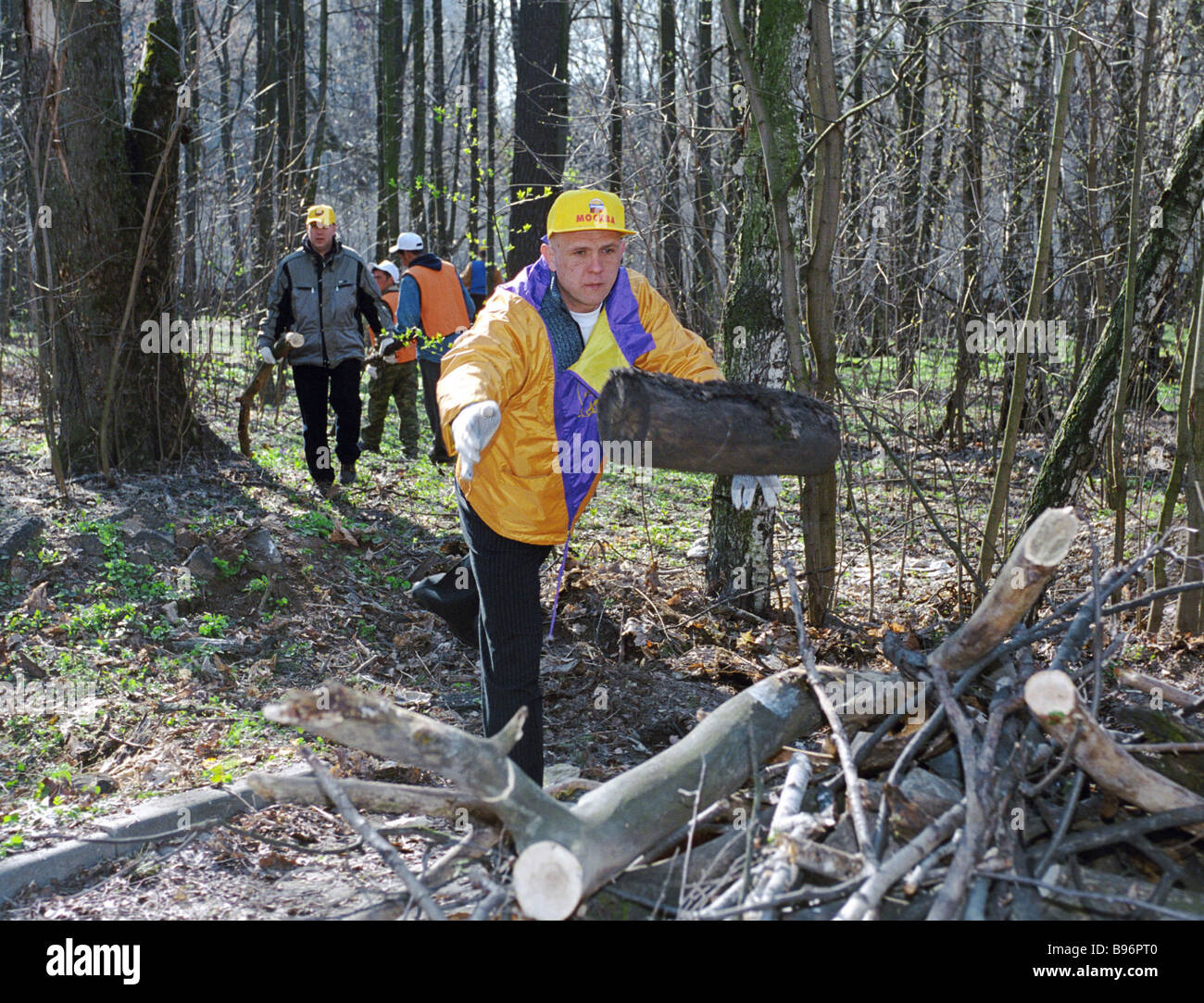 Participants in volunteer weekend work organized by the United Russia Party - Stock Image
