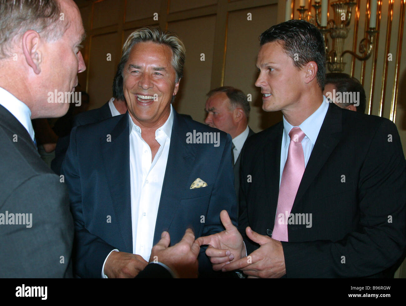 Right to left BMW Group Russia president Christian Kremer Hollywood actor Don Johnson leading roles in the TV series - Stock Image